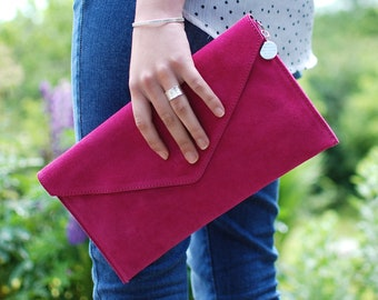 Personalised Suede Envelope Clutch, Custom Suede Leather Bag, Evening Bag, Bridesmaids Gift, Versatile Handbag, Suede Clutch,Wedding Bag