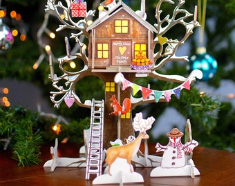 Personalised Tree House Advent Calendar, Christmas Countdown2021, Calendar for Girls or Boys, Interactive Advent, Thanksgiving Count Down