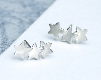 Sterling Silver Overlapping Stars Ear Climbers, Silver Stars Studs, Celestial Earrings, Handmade Lunar Earrings, Unique Mother's Day Gift