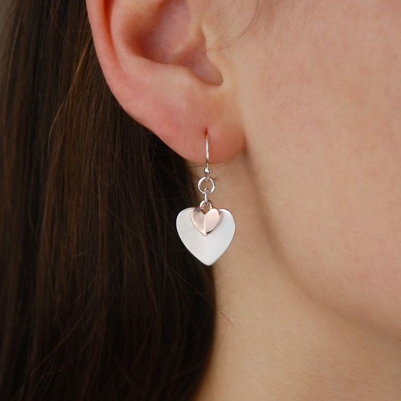 83d0dcc79ff80 Silver And Rose Gold Heart Drop Earrings, Double Heart Earrings, Rose Gold  Earrings, Mothers Day Gift, Gift For Girlfriend