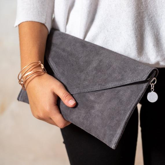 Monogrammed Faux Leather Black Formal Envelope Clutch