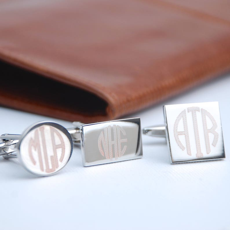 Personalised Monogram Letters Cufflinks Contemporary Engraved Name Cufflinks Engraved Shape Cufflinks Bespoke Wedding Gift for Groomsmen