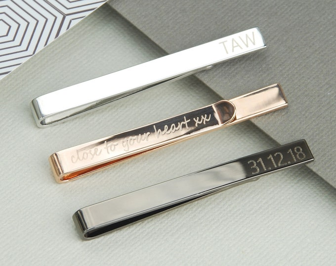 Engraved Silver Tie Clip,Custom Tie Bar,Father/'s Day Gift Man/'s Birthday Gift,Groomsmen Tie Clips,Personalized Gift,Wedding Accessories