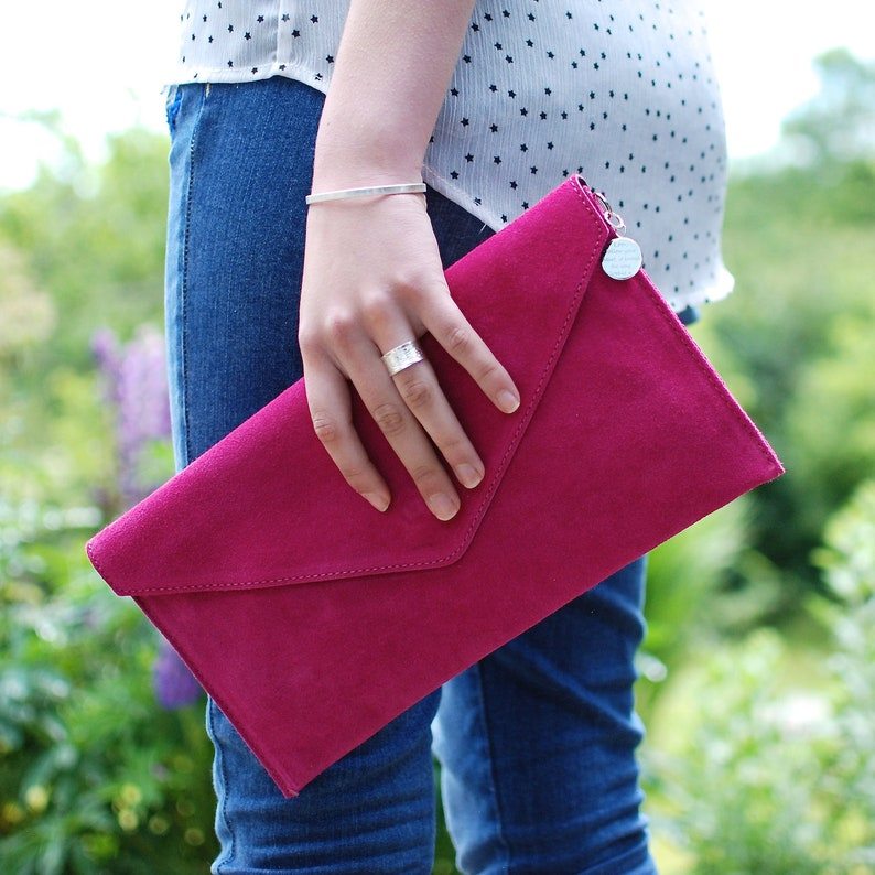 Personalised Suede Envelope Clutch Custom Suede Leather Bag Fuchsia