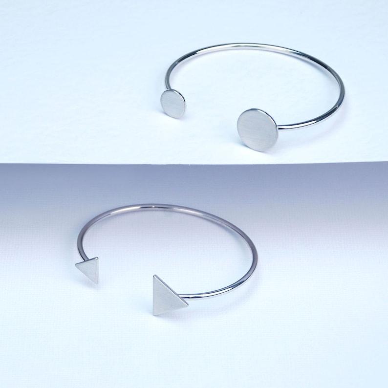 Silver Triangle Bangle Stacking Bracelet **CLEARANCE PRICE ** Ariana Gold Circle Bracelet Geometric Shape Bangle