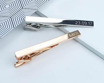 Rose Gold, Silver or Gold Personalised Tie Clip, Personalized Men's gift, gift for groomsmen and ushers, Engraved tie pin, Fathers Day Gift