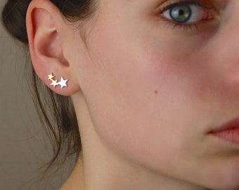 Sterling silver and rose gold stars climber earrings, silver star earrings, star stud earrings, rose gold Jewellery, Mothers day earrings