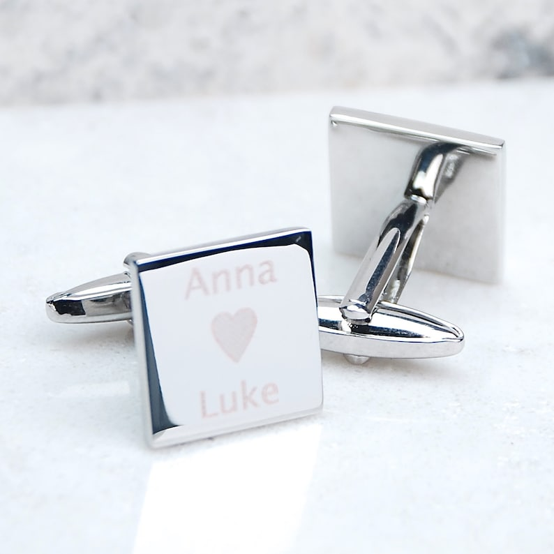 Fathers Day Gift Personalised Loves Somebody Cufflinks Personalized for Him Love Token for Him Engraved Name and Heart Cufflinks