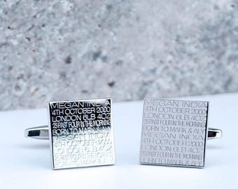 Personalised New Daddy Cufflinks, Gift for New Dad, Engraved Chromed Box, Gift For Dad, Fathers Day Gift, Birthday Gift For Dad, New Baby