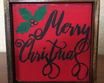 Merry Christmas with Holly Leaves Wooden Sign