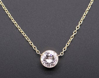1dea78c30 Exquisite GIA 18k Yellow Gold 1.52ct Round Cut Diamond Solitaire Bezel Pendant  Necklace