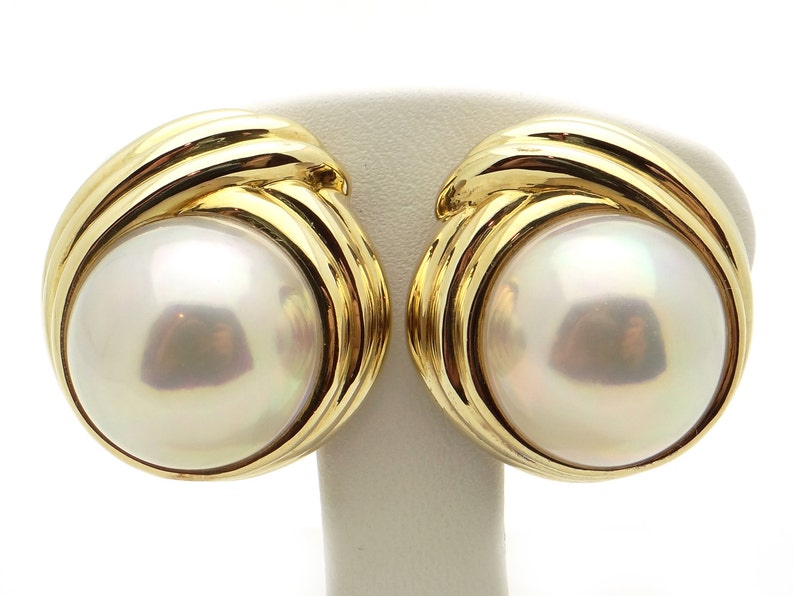 3ad026ee882cd Tiffany & Co. 18k Yellow Gold Mabe Pearl Button Stud Shell Earrings