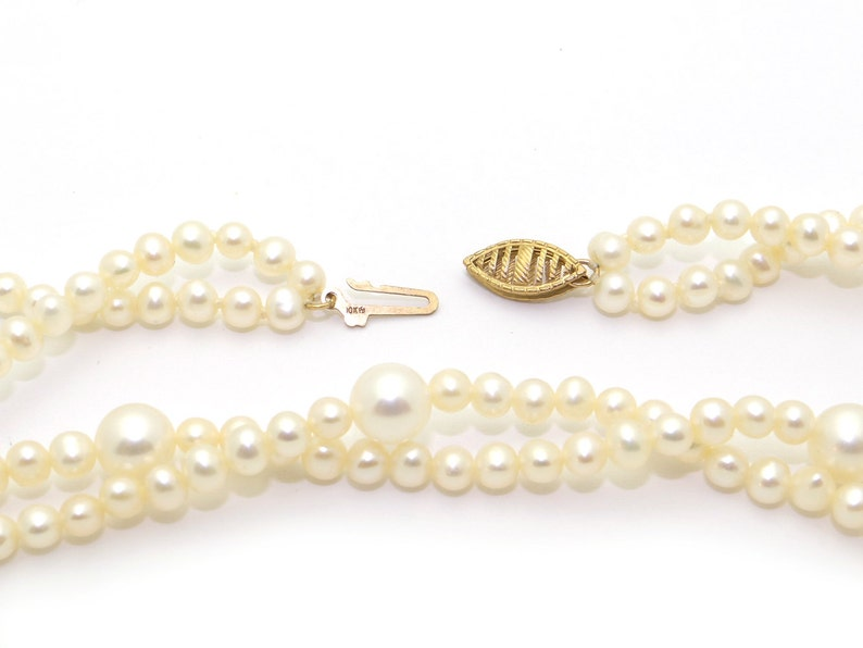 Unique 10k Yellow Gold 6.5mm White Freshwater Pearl Double Strand Necklace 18 inch