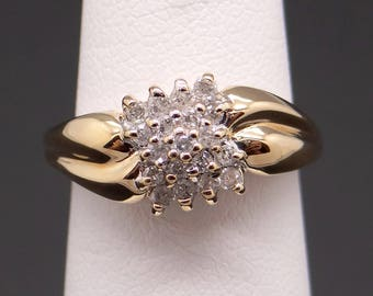 Adorabale 10k Yellow Gold Round .38ct Diamond Cluster Wave Band Ring Size 5.5