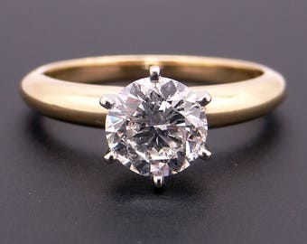 Classic 18k Yellow Gold 1.15ct Round Brilliant Cut Diamond Solitaire Engagement Ring EGL Certificate