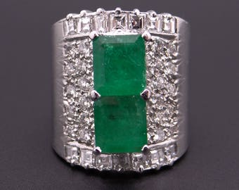 Incredible Platinum 4.78ct Emerald Cut Emerald Round Ascher Cut Diamond Wide Band Ring Sz 7