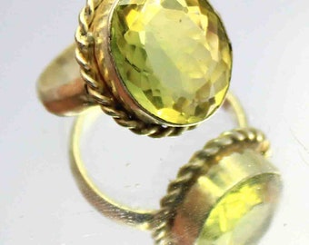 27.30Ct Certified US Size-6 Yellow Citrine Wonderful Ring Gems 925 Sterling Silver ET65