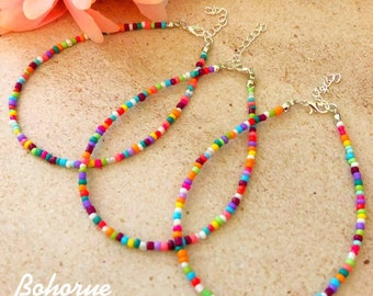 8e9815894 Beach Anklet Beach ankle bracelet Price is for one Boho anklet Beaded anklet Hippie  anklet Beach Jewelry Colorful anklet