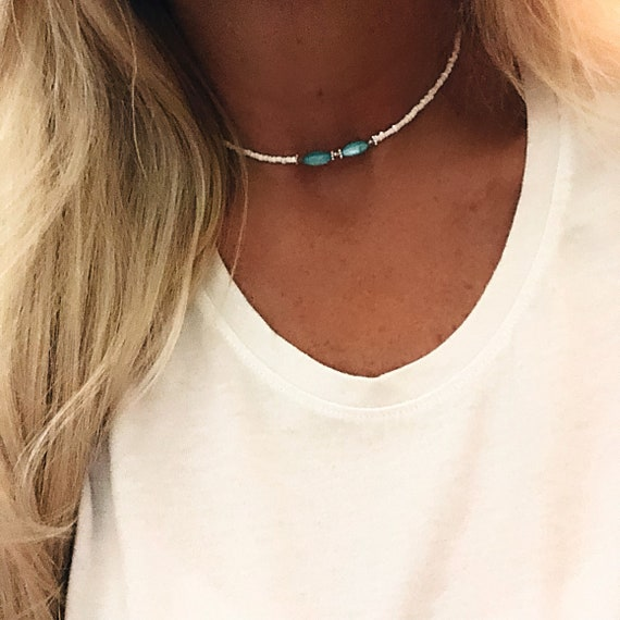 Copper Pendant Necklace Hippie Jewelry Mothers Day Gift Boho Jewelry Beach Necklace Beach Jewelry Chalcedony Beaded Necklace