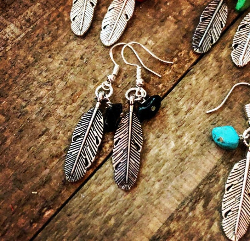 Southwestern EarringsGemstone EarringsFeather EarringsBoho EarringsSouthwestern Style EarringsHippie Earrings