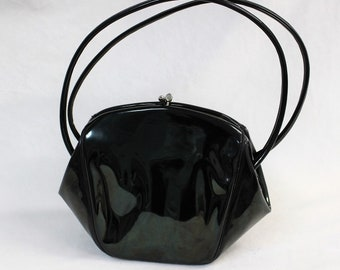 22b52670fc0 Black Vintage clutch Patent leather purse INGBER Made in USA 1950s