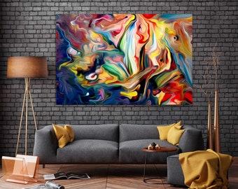 A1  Painting PRINT rain walk couple Modern Abstract Art Wall Deco Poster