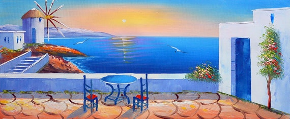 Santorini Sunset 3 Oil Painting On Canvas Landscapepainting Palette Knife Summerpainting Greece Painting Santorini Greece Greek Island