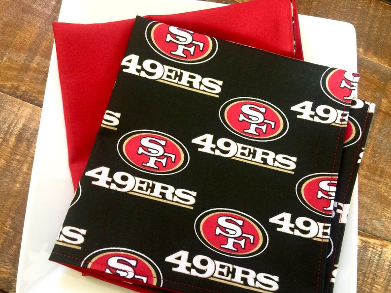 online store 7654d 041d3 Lunchbox Napkins-San Francisco 49ers Football-Sports Fan Gear-Back to  School-Reversible Cotton-Game Day Napkins-NFL-Kids Gift-Reusable