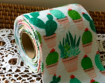 UnToilet Paper-Bidet Cloths-Upcycled Reusable Cloth TP-Roll of 12 Flannel Mixed Prints & Solids-Zero Waste-Emergency Back Up.