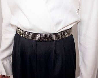 Rhinestone Studded Elastic Belt // Black, Gemstone Stretch Belt //