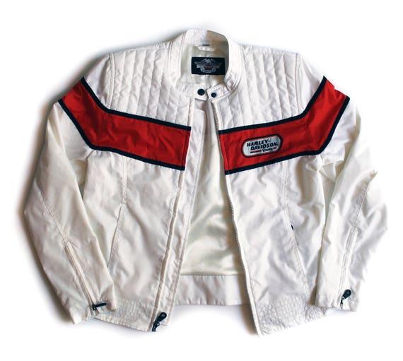 Harley Windbreaker Davidson Weiße Vintage Motorrad Jacke Damen QrdxoBECeW