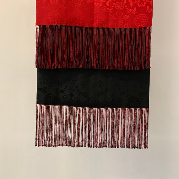Vintage Black and Red silk Asian Print scarf // Re