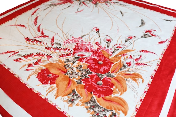 Vintage Red & White Silk Floral Scarf, Large  // W