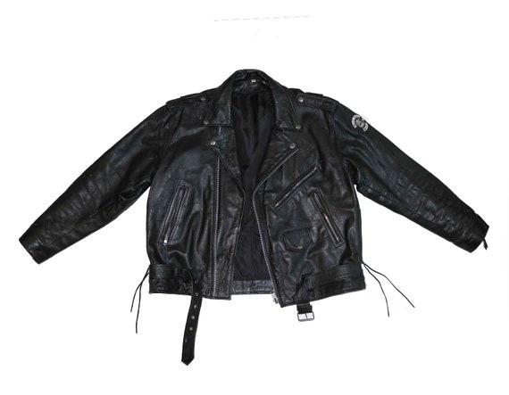 Herren Harley Davidson Biker Jacke, Größe XL schwarz Leder Jacke Größe 52 Motorrad Jacke Moto 90 Vintage Leder