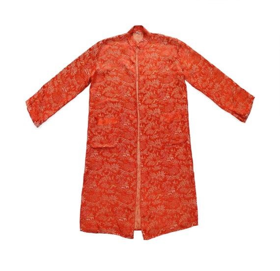 Vintage Silk Print Robe, Size Small // Orange Kimo