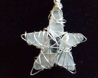 Wire-Wrapped Sea Glass Star Pendant