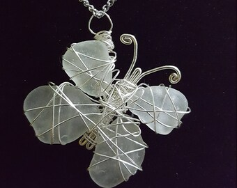 Wire-wrapped Sea Glass Butterfly Pendant