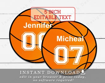 image relating to Basketball Template Printable identify Basketball get together tag Etsy