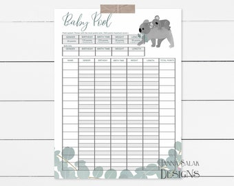 Baby betting pool printable rp2 minecraft 1-3 2-4 betting system