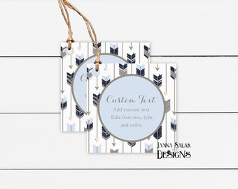 DS0138 Custom Rectangle Thank You Tags Boho Style Arrow Tribal 60 TAGS Jewelry Tags Price Tags