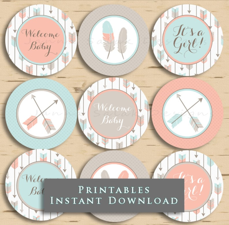 Tribal Arrow Baby Shower Cupcake Toppers It/'s a Girl Pink Grey and Blue DIY Printable INSTANT DOWNLOAD TR001