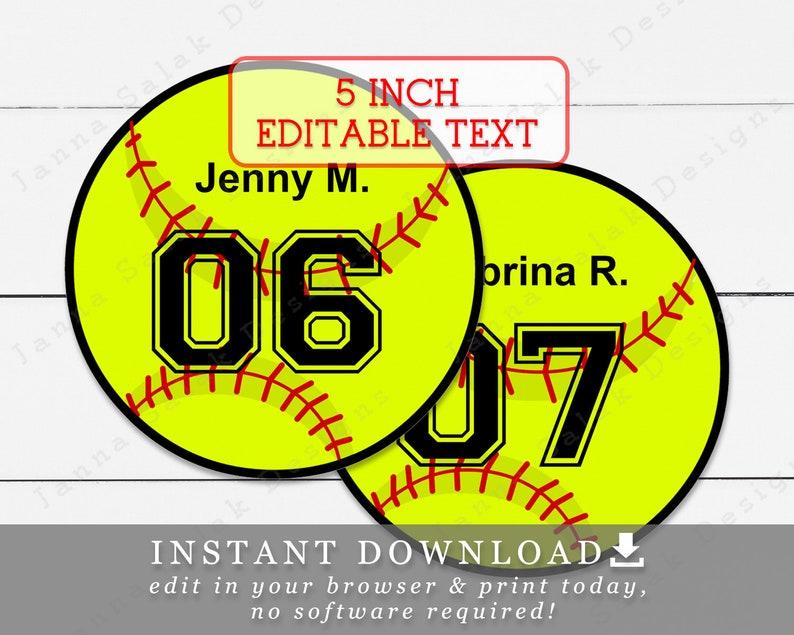 5 Softball Tags With Editable Names and Numbers DIY Template