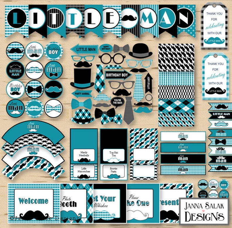 Little Man Birthday PRINTABLE Party Package Decorations Teal