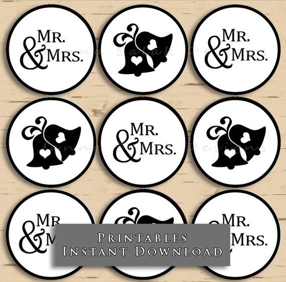 Printable mr mrs cupcake toppers wedding bells black and etsy image 0 junglespirit Choice Image