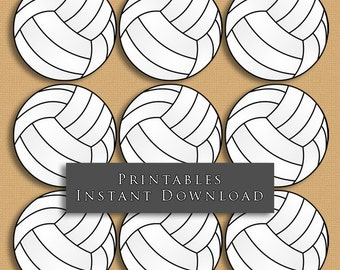 """2.5"""" Volleyball Printable Cupcake Toppers Sports Theme Birthday Party DIY Printable INSTANT DOWNLOAD"""