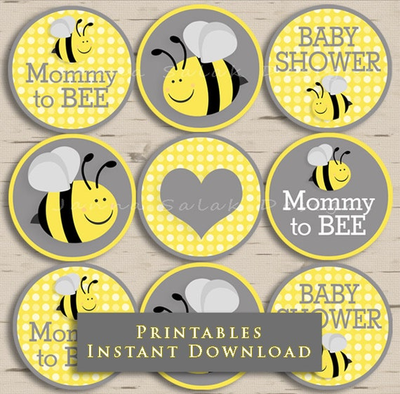 Mommy to bee baby shower cupcake toppers party yellow and grey etsy image 0 solutioingenieria Choice Image