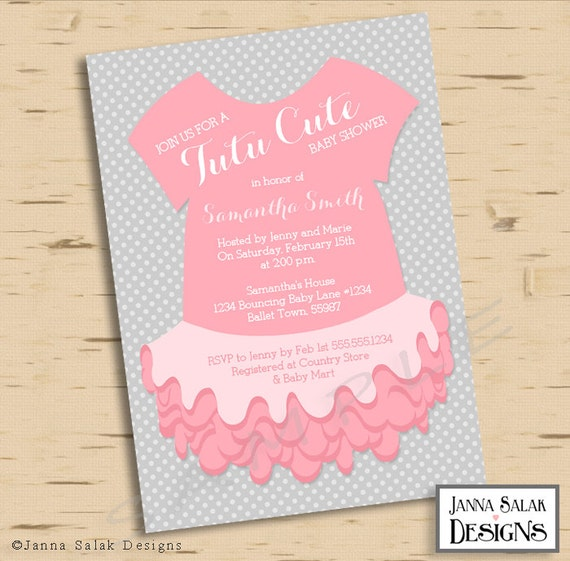 Tutu Cute Baby Shower Invitation Pink And Grey Printable Etsy