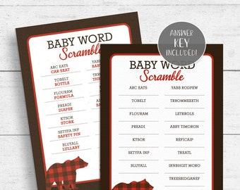 Lumberjack Baby Shower Word Scramble Game Printable - Buffalo Plaid Bear DIY INSTANT DOWNLOAD LJ01