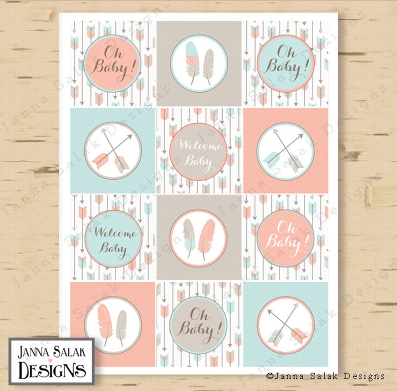 Apricot Pink Grey and Blue DIY Printable INSTANT DOWNLOAD TR001 Tribal Arrow Baby Shower Cupcake Toppers Gender Neutral