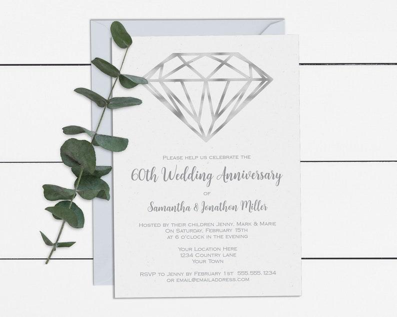 Diamond Wedding Anniversary Invitation Template 5x7 Digital 60th Invite DIY Printable With Editable Text WD02